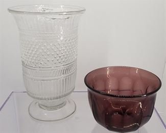 Antique Pittsburgh Sandwich Glass Celery Vase and Pittsburgh Flint Glass Finger Bowl