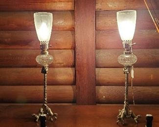 antique silver and crystal sideboard lamps