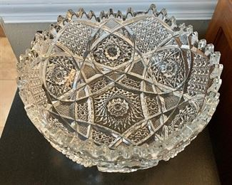 "$24 - Pressed glass bowl.  9.5"" diam, 5"" H."