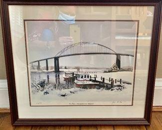 """$125 - """"Pilot Boats Chesapeake City, Maryland"""" lithograph.  20"""" W x 17.5"""" H."""