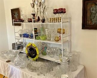Large selection of crystal, including Waterford, Orrafors, Kosta Boda and many from Poland.