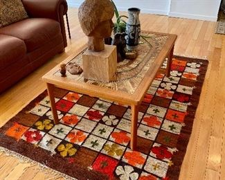 Mid Century San Diego Danish tile top coffee table and beautiful hand woven rug/wall hanging.