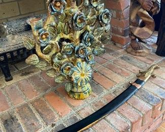 Extra large Mexican Tree of Life candle holder and Polish sword.