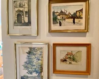 Group of framed watercolors.