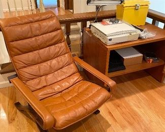 Mid Century Westnofa leather lounge chair.