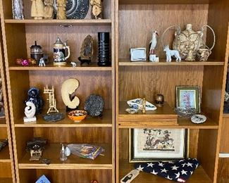 3 teak bookcases and lots of decor!