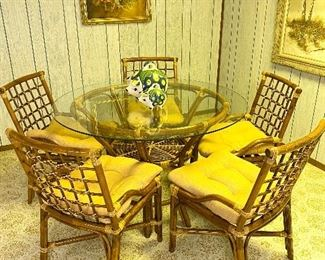 Vintage bamboo dining table and chairs.