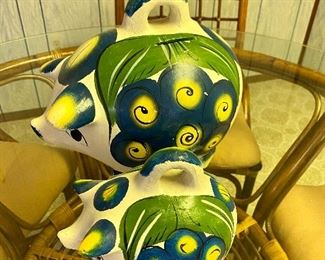 Mexican pottery piggy banks,