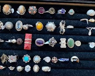 A nice selections of silver rings.