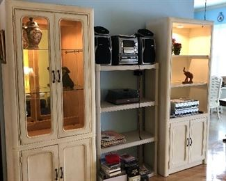 Matching storage/entertainment pieces.  Both are powered for electronics and light.