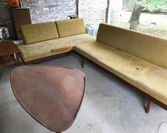 1950's teak wood sectional with triangle coffee table and matching side tables. Restoration project.