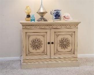 french  entry way cabinet with silver resist lamp