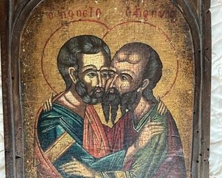 """This wood icon is incredible!  This is called the Kissing Apostles, Saints Peter and Paul.  It is 8"""" x 10"""".  Contact us at (518)944-0256!"""