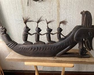 """Hand carved """"dragon boat"""" from Indonesian.  Incredible piece!! Contact us at (518)944-0256!"""