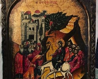 This is a beautiful icon of the Entry of Christ into Jerusalem.  Please feel free and submit your best bid for this special piece.  Text Stephanie at (518) 944-0256 or email stephaniejd1@icloud.com.  Thank you!