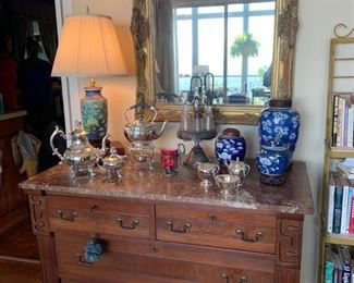 Early marble topped dresser.  Mid century Oriental.  Refurbished silver plate tea set.  Large vintage mirror.
