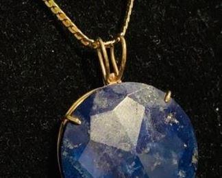 210 14k Gold  Lapis Pendant Necklace