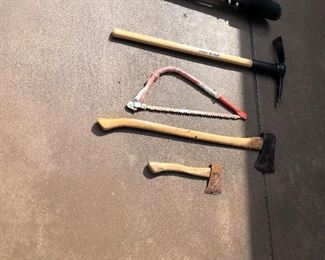 axes, picks, saws