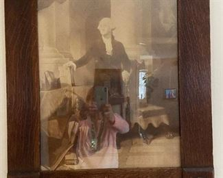 "Wooden oak frame with print of George Washington. The top of frame is missing the eagle emblem. The corner emblems are partially missing. Very old picture. Measures 23"" x 27"". $60"