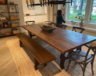 """Dining Table w/Bench 9'8"""" x 3'9"""" x 30H Wood from oxen cart oad in Bali  Seat 10-12  Exquisite!"""