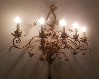 Large metal midcentury wall sconce