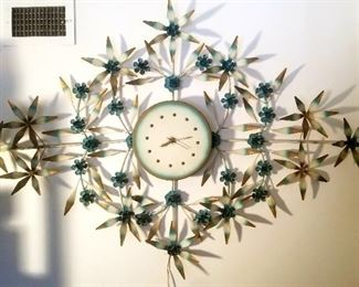 Fantastic Midcentury metal wall art clock with lights....almost 6 ft across!