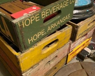 Many bottle crates, most from local vendors.