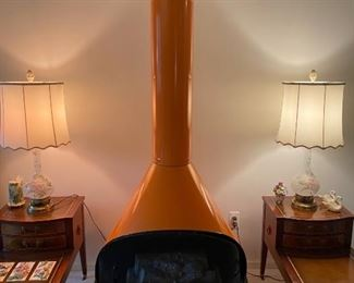 Mid Century Modern Orange Cone Fireplace