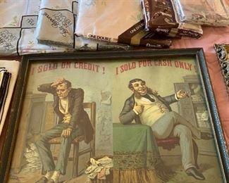 I Sold on Credit / I Sold For Cash Only Framed Picture