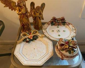 Fitz & Floyd Christmas Plates & Bowl