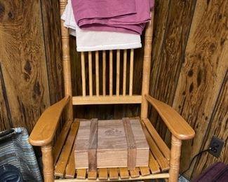 Wooden Cracker Barrel Type Rocking Chair