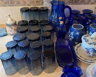 Blue Glassware, Pitcher