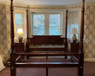 Custom mahogany king size poster bed with apple finials
