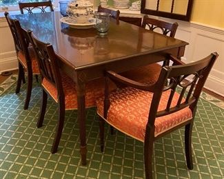 "Custom made dining table and six period Regency dining chairs signed with makers mark ""G. Wills"""