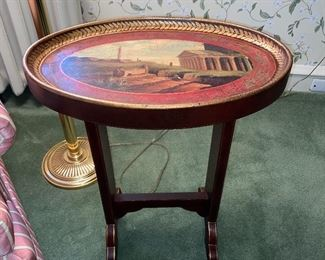 Painted oval chair side stand