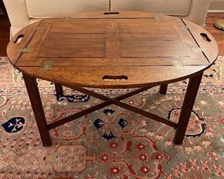 c1800-1820 Mahogany panel top Butlers tray on contemporary stand