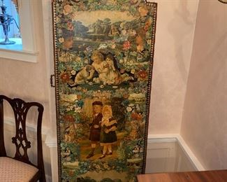 Amazing decoupage 4 panel Victorian screen depicting  scenes of Victorian England. Leather bound edges. c1880