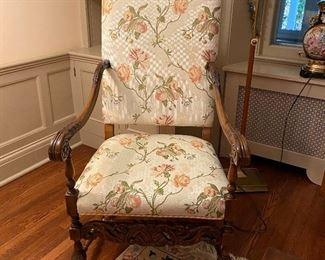 Upholstered Antique arm chair