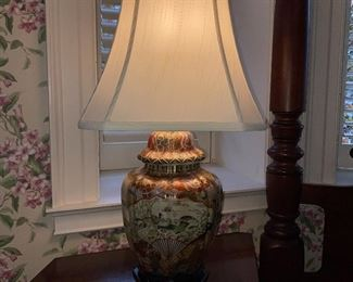 Asian style table lamp, one of two