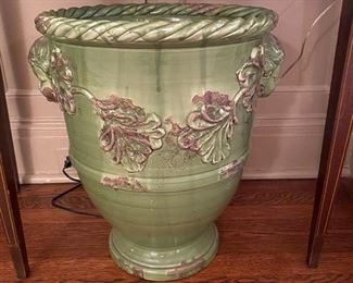 Green glaze footed jardiniere, one of two