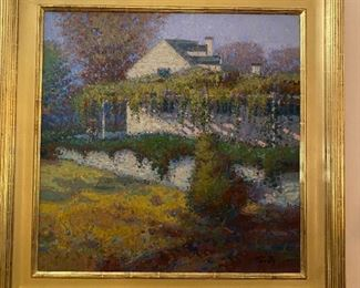 "Original oil painting ""White Cottage, Springtime"" signed Twombley"