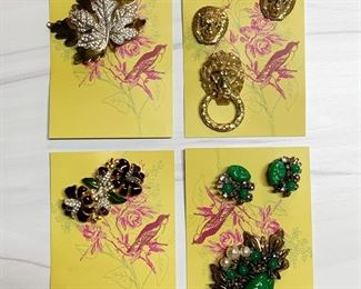 Top row - McClelland & Barclay brooch, Castlecliff brooch and earrings set. Bottom row - unsigned brooch / double dress clip set, Miriam Haskell brooch and earrings set.