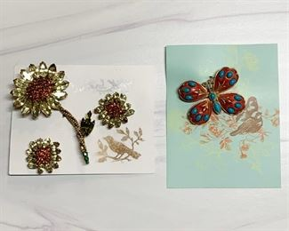 Weiss brooch and earrings set, HAR brooch.