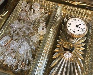 Spun glass Christmas ornaments, Elgin 15 jewel pocket watch