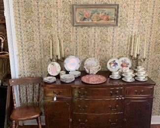 Dining room  Sideboard, Masons Vista Round Platter, Bavarian Luncheon sets