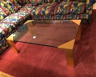 """BUY IT NOW! $245 contemporary glass coffee table with brass legs is 49.5""""W x 30""""D x 16""""H"""