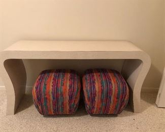 """BUY IT NOW! $395 contemporary Post Modern curved laminate console table 60""""W x 16""""D x 29""""H   NOTE: Poufs SOLD"""