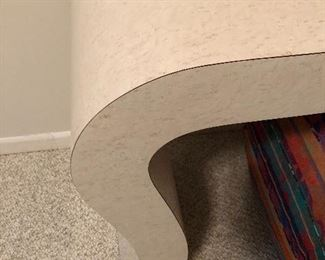 detail of shapely laminate console table