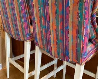 """BUY IT NOW! $295 Henredon bar stools with abstract print including 2 matching pillows -  stools measure 44.5""""H x 18""""W x 20""""D. Seat is 30""""H off floor"""