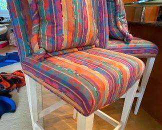 BUY IT NOW $295 Henredon abstract print whitewashed oak bar stools